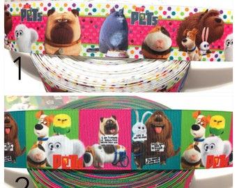 Secret Life of Pets Ribbon, fidget ribbon, Max Printed Ribbon, Dog Ribbon, Puppy Ribbon, Animal Grosgrain Ribbon