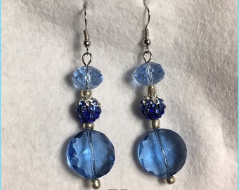 EB7, Blue and Silver Beaded Earrings