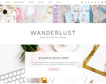 Responsive Wordpress Theme Wanderlust -Ecommerce - Genesis Child Theme - Wordpress Template - Wordpress Blog - Blog Design