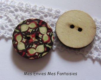10 wooden Mandala buttons / 2.5 cm black red green B9 rosette