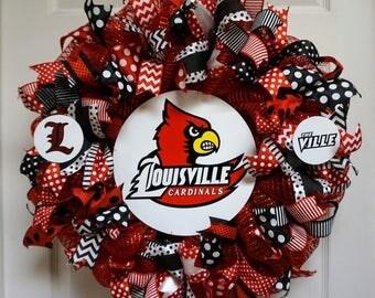 Louisville Cardinals Wreath, U of L wreath, Cardinals Wreath, Louisville Wreath, Kentucky Wreath