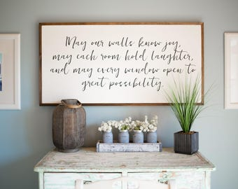 May our Walls know Joy 4'x2' Wood Sign