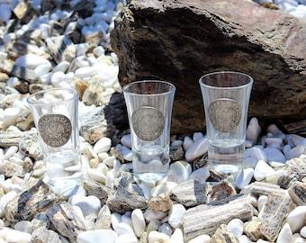 3 Vintage Kaznacheyskaya Vodka Shot Glasses, Russian Glass & Pewter Shotters