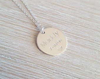 Sterling silver name date necklace | hand stamped initial disc | personalised engraved necklace | gift for mum