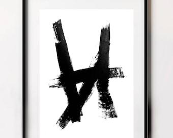 Black Painting, Brush Prints, Brush Strokes, Printable Art, Wall Art, Abstract Painting, Minimalist Art