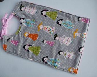 double bib pink Terry cloth gray girls