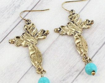Worn Goldtone Cross and Turquoise Earrings