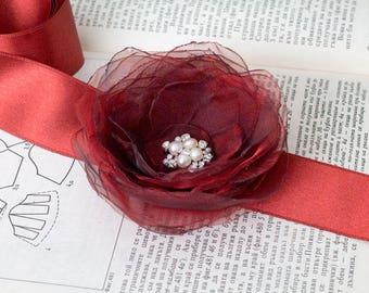 Burgundy Flower Bridal Sash, Burgundy Sash, Bridal Gown Sash, bordeaux Belt, Marsala Flower Belt, Wedding Dress Sash, Formal Dress Sash