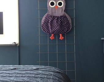 Pyjama/toy bag owl pink or purple