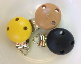 Set of 3 clips (clips) for clip-pacifier-natural-yellow-black