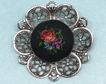 Vintage Tapestry Brooch Edwardian Era Victorian Era Jewelry Hand Crafted Jewelry Antique Fabric