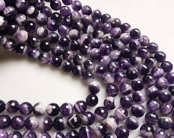 Natural Tooth Amethyst Faceted Round Loose Beads 15.5 inch per Strand 6/8/10/12mm Approx 50pcs per strand, Gemstone Beads.R-F-AME-0091