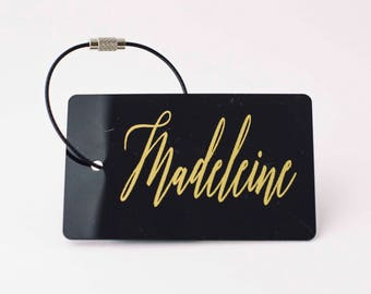 Luggage Tag (10 tags) - FREE SHIPPING, Black and Gold Personalized Luggage Tag, Bag Tag, Custom Luggage Tag, Travel Gift, Custom Gifts