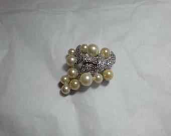 Vintage Crown Trifari Faux Pearl Floral Brooch Silver Metal