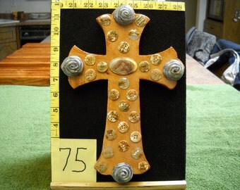 Wooden Cross, Item #75 with Vintage Buttons