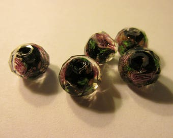 Black-Clear Faceted Lampwork Glass Beads with Tiny Pink Rosebuds and Gold Foil, 10mm, Set of 3