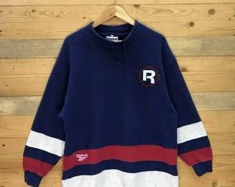 Rare! Vintage Reebok Sweatshirt Pullover Multicoloured Size L