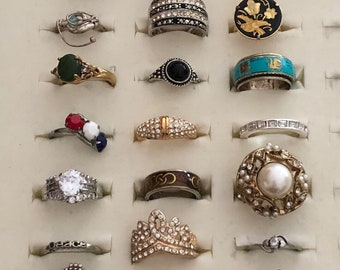 Lot of 24 Vintage to Newer Rings
