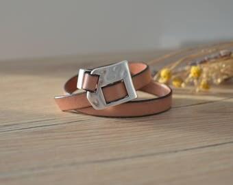 Native American Leather Wrap Bracelet, Rock Style Bracelet Jewelry, 2 Times Leather Wrap Bracelet, 6-7.5 wrist size adjustable bracelet