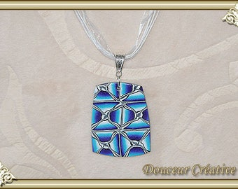 Blue turquoise necklace purple gray white silver black rectangle 103074