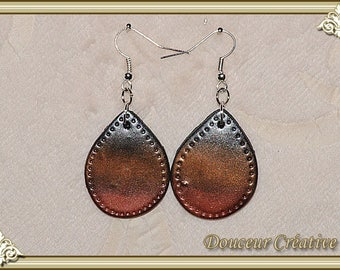Silver earrings bronze copper 104024