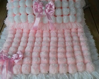 handmade pompom blanket