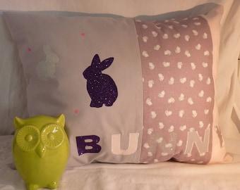 "Pink purple gray child ""BUNNY"" rabbit cushion"
