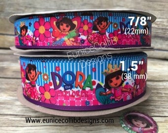"1.5""  &  7/8"" Dora the explorer inspired ribbon"