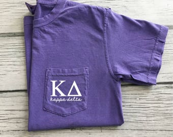 Kappa Delta Sorority T-shirt, Kappa Delta Pocket Tee, Kappa Delta Comfort Colors, Sorority Gift, Greek Letters Pocket T-shirt, KD Sorority