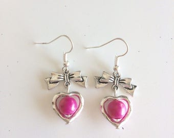 Bows, hearts and pink beads earrings