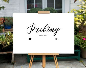 Printable Wedding Parking sign, Minimalist Directional sign, Reception Parking sign, Minimal Directional sign, Calligraphy Arrow sign