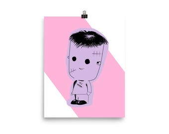 Monster Boy-Frankenstein art print 8x10-vintage inspired original Illustration-Halloween-pink and purple