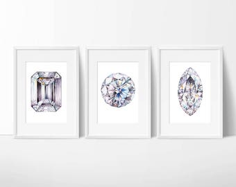 Set of Three Gem Prints. Brilliant, Diamond, Crystal Painting. Watercolor Gemstone, Gemstone Print, Painting, Art Gift, Home Decor