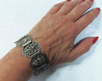 Vintage Silver Tone Ethnic Style Bracelet (28784)