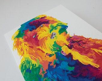 Rainbow Labradoodle Card
