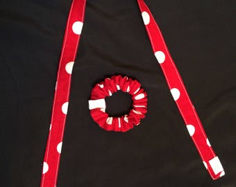 Red and white polka dot Scrunchie and hair tie