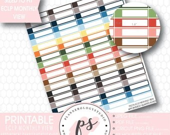 Monthly View  Appointment Quarter Boxes Printable Planner Stickers (for use with ECLP) | JPG/PNG/Silhouette Cut Files