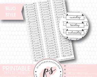 Days of the Week Headers Banners | Bullet Journal Bujo Printable Planner Stickers | JPG/PDF/Silhouette Compatible Cut Files