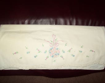 Embroidered  Vintage Pillow Case w/lace edging.
