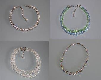 Vintage Blue Crystal Necklace, 1950s Crystal Necklace, Multi Strand Crystal Necklace