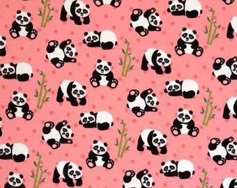 Pandas with Bamboo in Pink Cotton Jersey