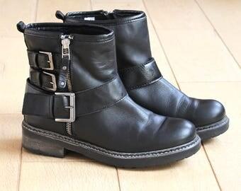 KURT GEIGER Black Leather Biker Boots, Black Leather Ankle Boots, Biker Ankle Boots, Funky Black Leather Boots, Adventure Ankle Boots EU 37