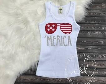 Merica Tank Top - Merica Shirt - Girls 4th of July Shirt - Girls Merica Shirt - Kids Merica Shirt - 4th Of July Shirt - Patriotic Tank