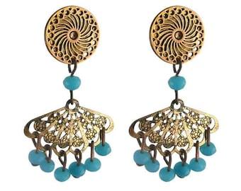 Earring clip turquoise fan (made in France)