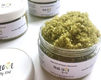 MATCHA MINT Body Scrub | Green Tea Scrub | Vegan Body Scrub | Organic Sugar Scrub | Dead Sea Salt Scrub | Organic Body Scrub | Matcha Scrub