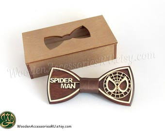 Wood bow tie Spiderman, wooden unisex accessory for comics fans