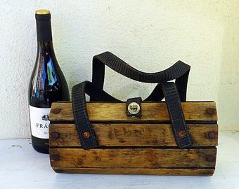 French wood slat purse vintage wooden panel box handbag 60s 1960s oval wooden bag boho bohemian country house decor