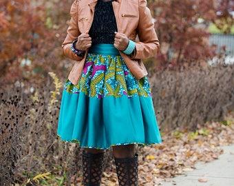Elegant Turquoise African Knee Length Skirt Ankara Dress Skirt Patched Ankara Skirt Blue African Skirt African Women Clothing African Print