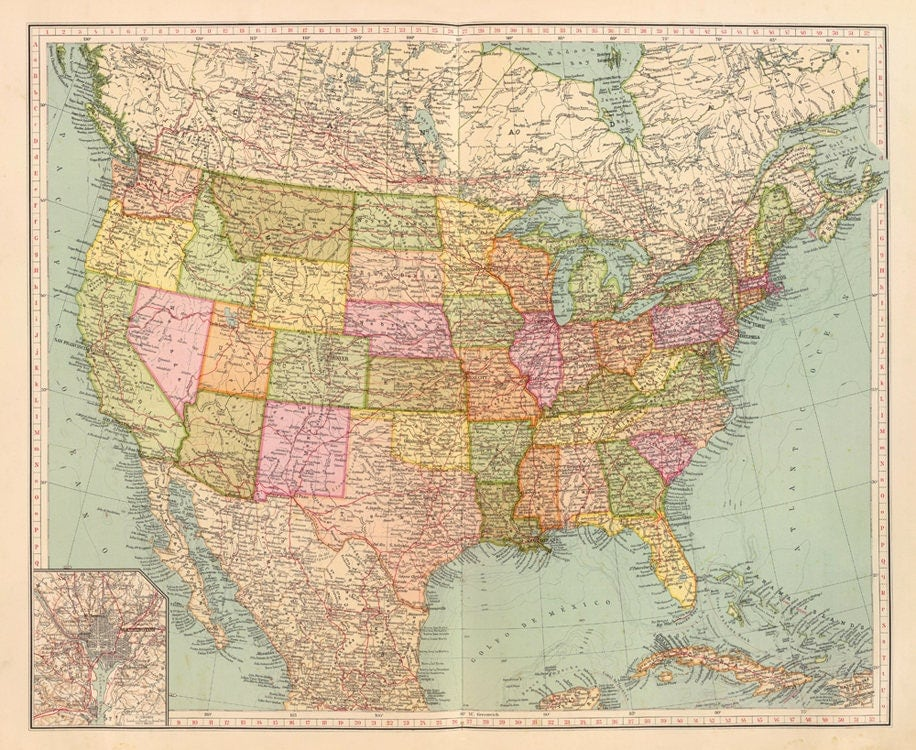 Old Map Of United States Of America Map Digital Download Vintage - Old map of the us
