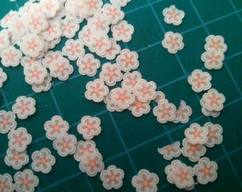 set of 12 flowers, polymer clay cane slice nail jewelry